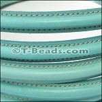 MINI Regaliz™ Leather Oval STITCHED  turquoise per inch