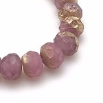 Light Fuchsia Opaline with Etched Gold Finish  - 9x6mm