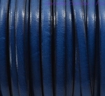 Flat Leather 5mm - per inch Blue