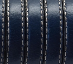 Flat Leather 10mm Stitched Navy