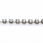 Crystal cup chain -4mm - per inch - Antique Silver