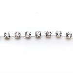 Crystal cup chain -4mm - per inch - Silver