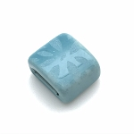 Clay River - 10mm - Etched Daisy - Light Turquoise