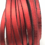 Metallic Flat Leather 5mm - per inch Bright Red