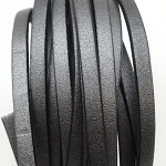 Metallic Flat Leather 5mm - per inch Gunmetal