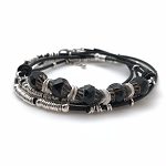 Czech Glass & Leather Bracelet Kit - Black