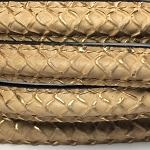 MINI Regaliz™ Leather Oval STITCHED Beige with gold accents per inch
