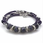 Czech Glass & Leather Bracelet Kit - Purple