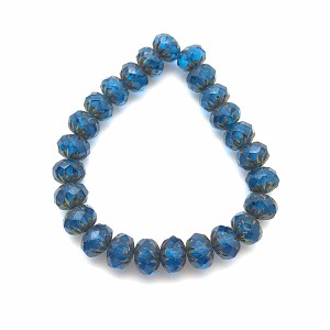 Cruller - Capri Blue with Brass colored Finish  - 9x6mm