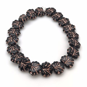 Maple Leaf - Black with Copper finish- 13x11mm