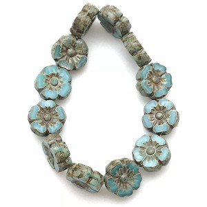 Hibiscus Flower - Turquoise Silk with Picasso finish- 9mm