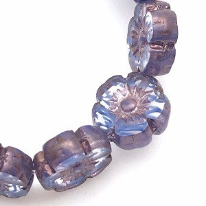 Hibiscus Flower - Sapphire Blue Stripe in Crystal Transparent with Bronze- 10mm