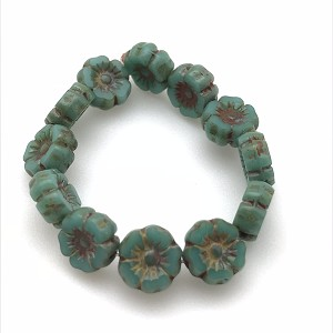 Hibiscus Flower -  Turquoise Green Opaque with Picasso Finish- 7mm