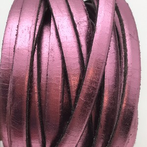 Metallic Flat Leather 5mm - per inch Bright Pink