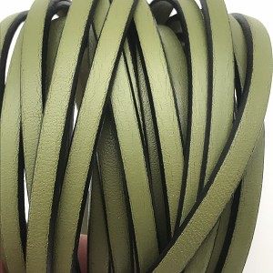 Flat Leather 5mm - per inch Olive Green