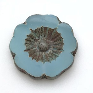 Hibiscus Flower - Aqua Blue Opaline with Picasso - 22mm