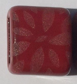 Clay River - 10mm - Etched Daisy - Red