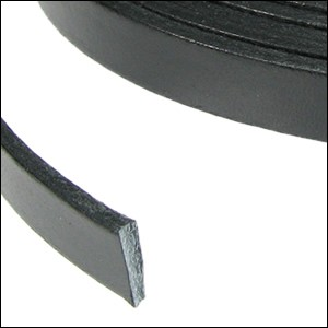Flat Leather 10mm - per inch Black