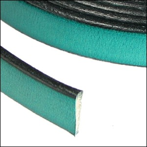 Flat Leather 10mm - per inch Teal