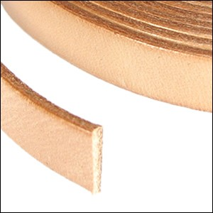 Flat Leather 10mm - per inch Natural