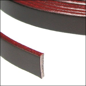 Flat Leather 5mm - per inch Brown/Burgundy