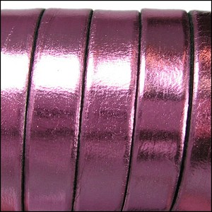 Electric Metallic Flat Leather 10mm - per inch Rose