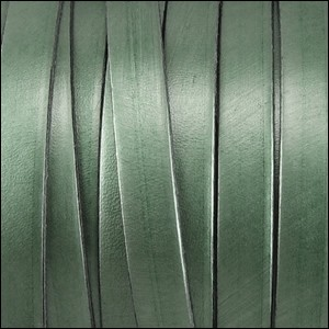 Metallic Flat Leather 10mm - per yard Fern Green