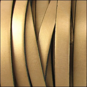 Metallic Flat Leather 5mm - per inch Gold