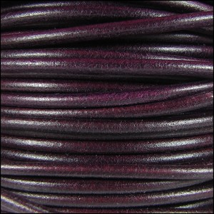 3mm Round Mediterranean Leather - Plum per foot