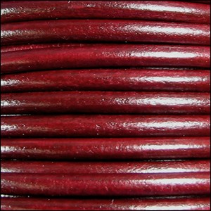 5MM ROUND EURO LEATHER PER INCH - Bordeaux