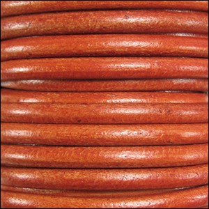 5MM ROUND EURO LEATHER PER INCH - Distressed Orange
