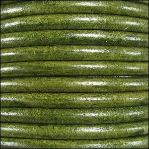 5MM ROUND EURO LEATHER PER INCH - Distressed Green