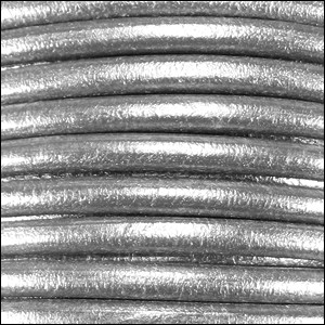 5MM ROUND EURO LEATHER PER INCH - Silver