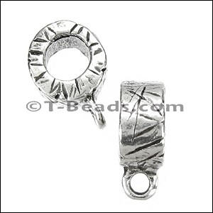 etched charm holder bead for 5mm ROUND leather per piece