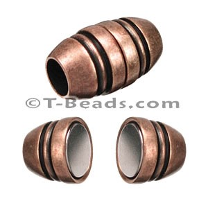 Barrel with lines MAGNETIC clasp - Copper