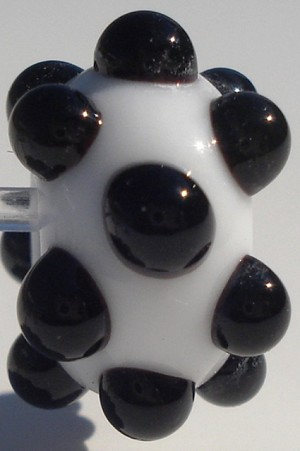 Bumps - Black on White Glass Lampwork Beads