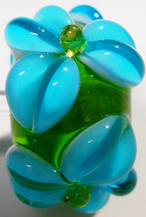 Turquoise on Grass Green Glass Lampwork Beads