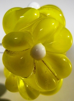 Yellow on Clear Glass Lampwork Beads