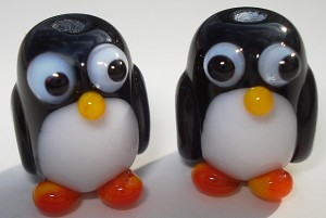 Penguin Babies Glass Lampwork Beads