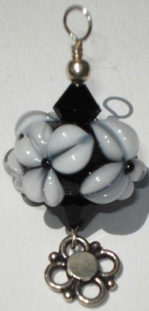 Black & White Flower Glass Pendant