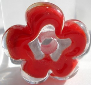 Red and Clear Flower Disc Glass Lampwork Beads